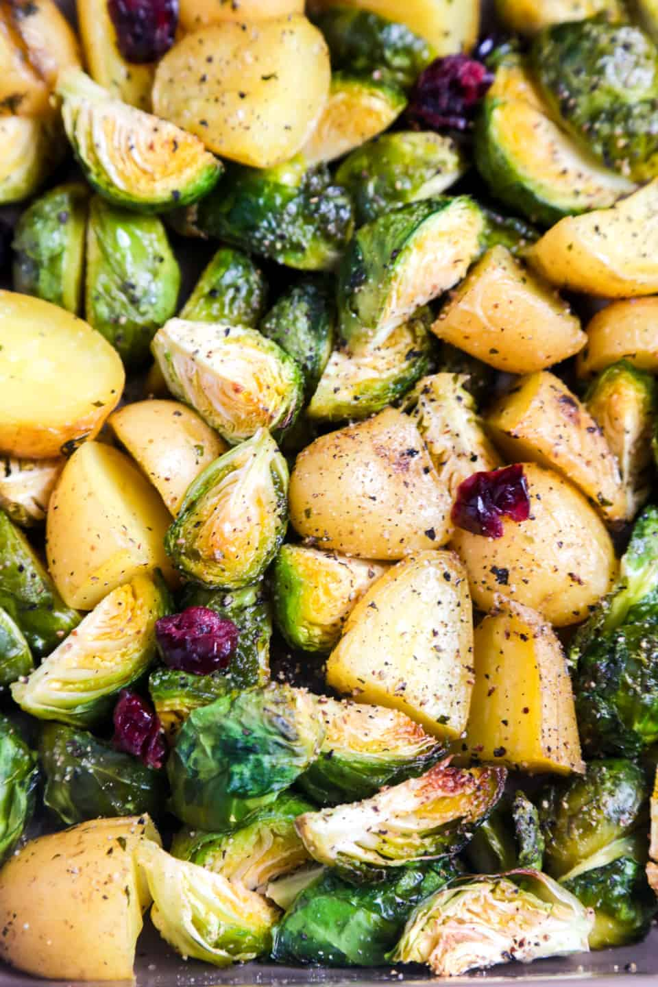 Roasted Brussels sprouts with potatoes and cranberries Little Sunny Kitchen