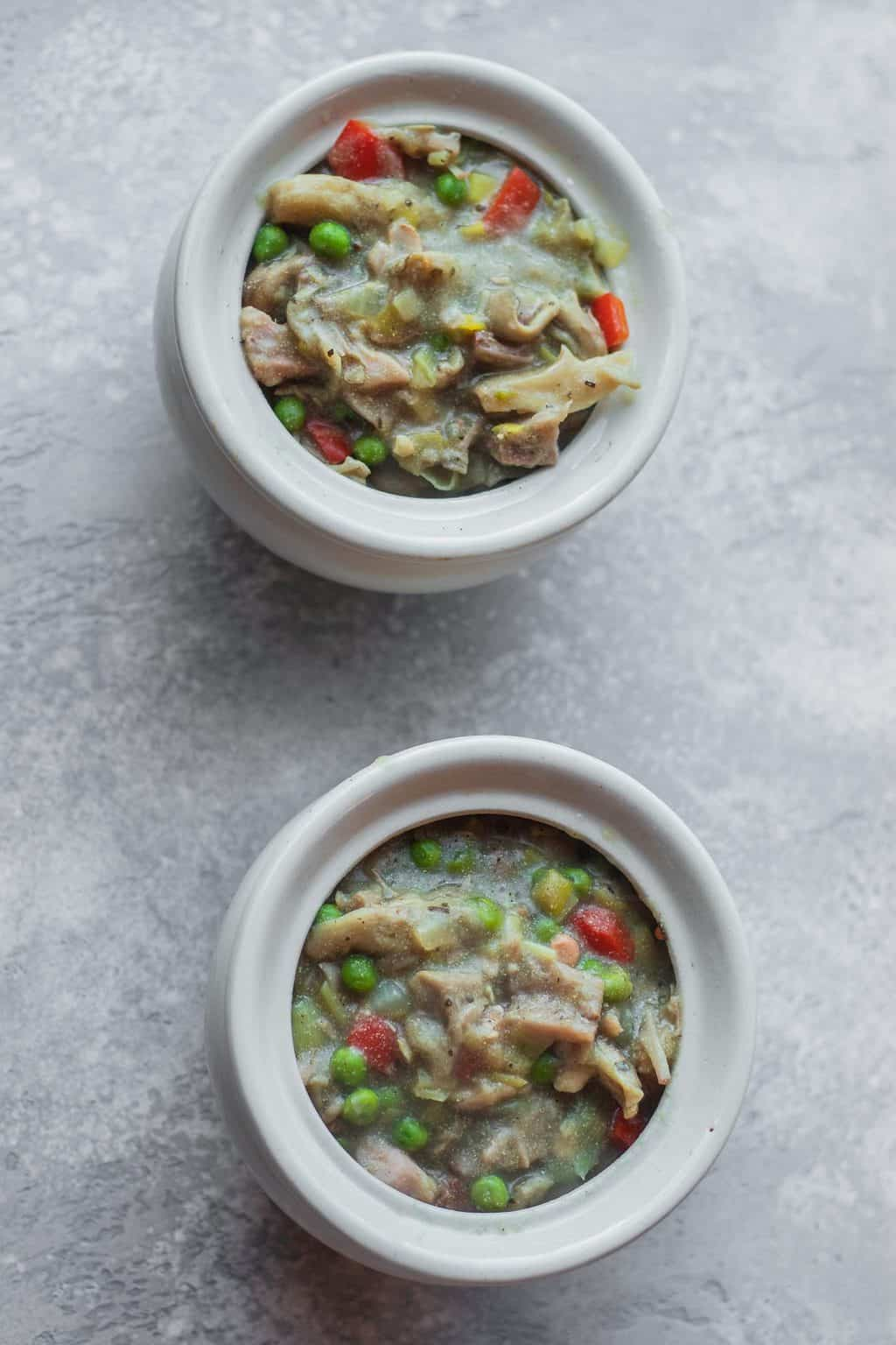 Vegan pot pies with jackfruit and vegetables