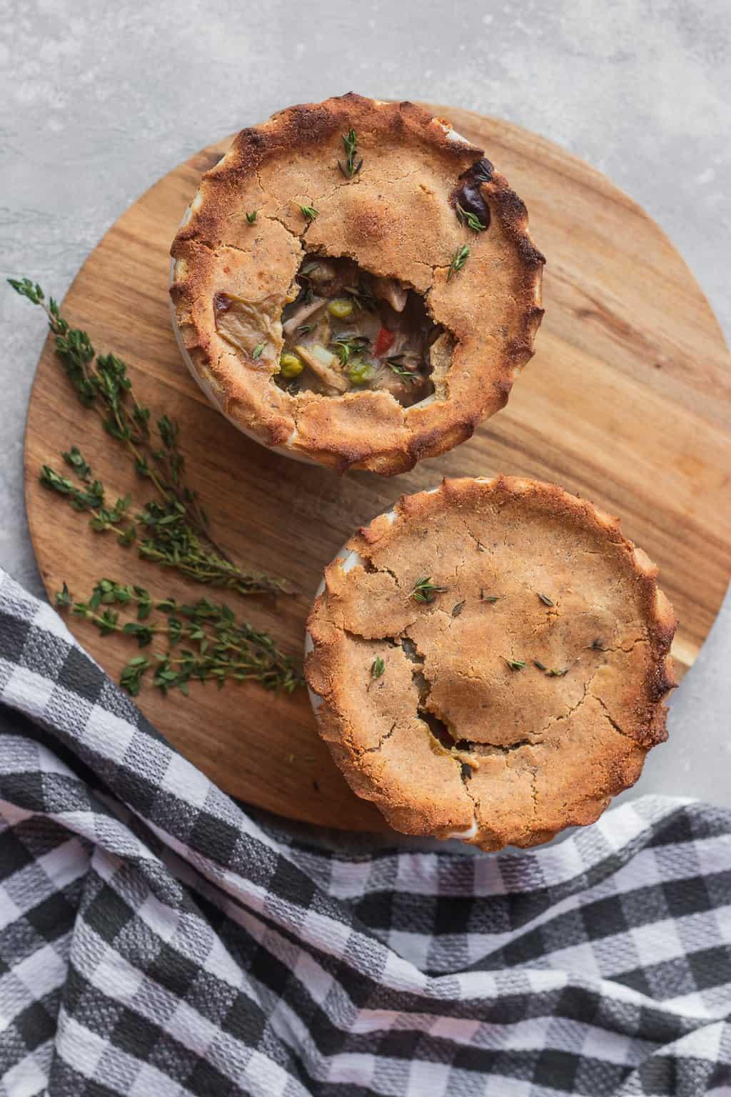 Vegan pot pies with jackfruit and gluten-free crust