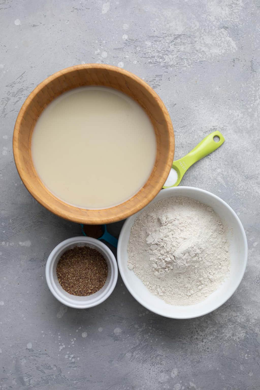 Ingredients for vegan buckwheat crepes
