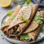 Vegan buckwheat crepes with mushrooms gluten-free