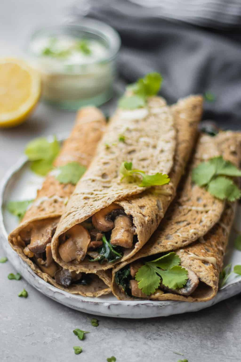Gluten-free savoury crepes with buckwheat flour