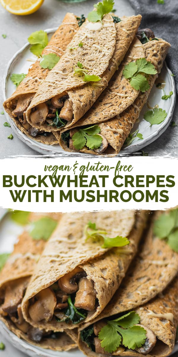 Gluten-free vegan buckwheat crepes with mushrooms Pinterest