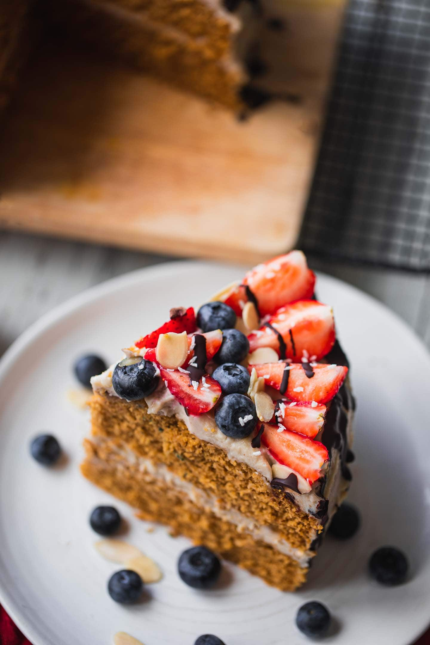 Vegan gingerbread cake with coconut frosting gluten-free