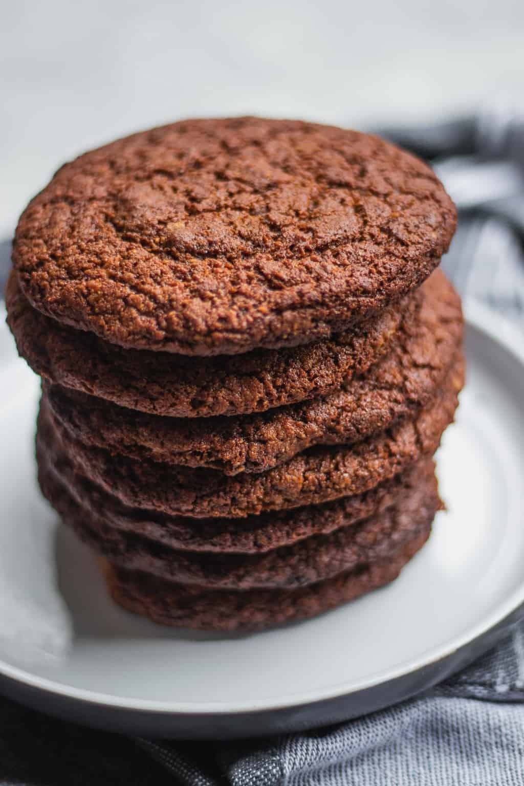 Vegan peanut butter cookies on a plate