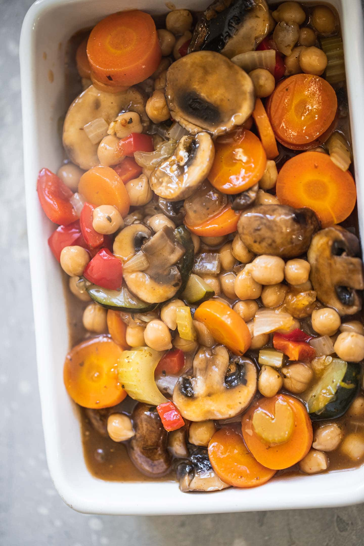 Vegetables and chickpeas in a baking dish