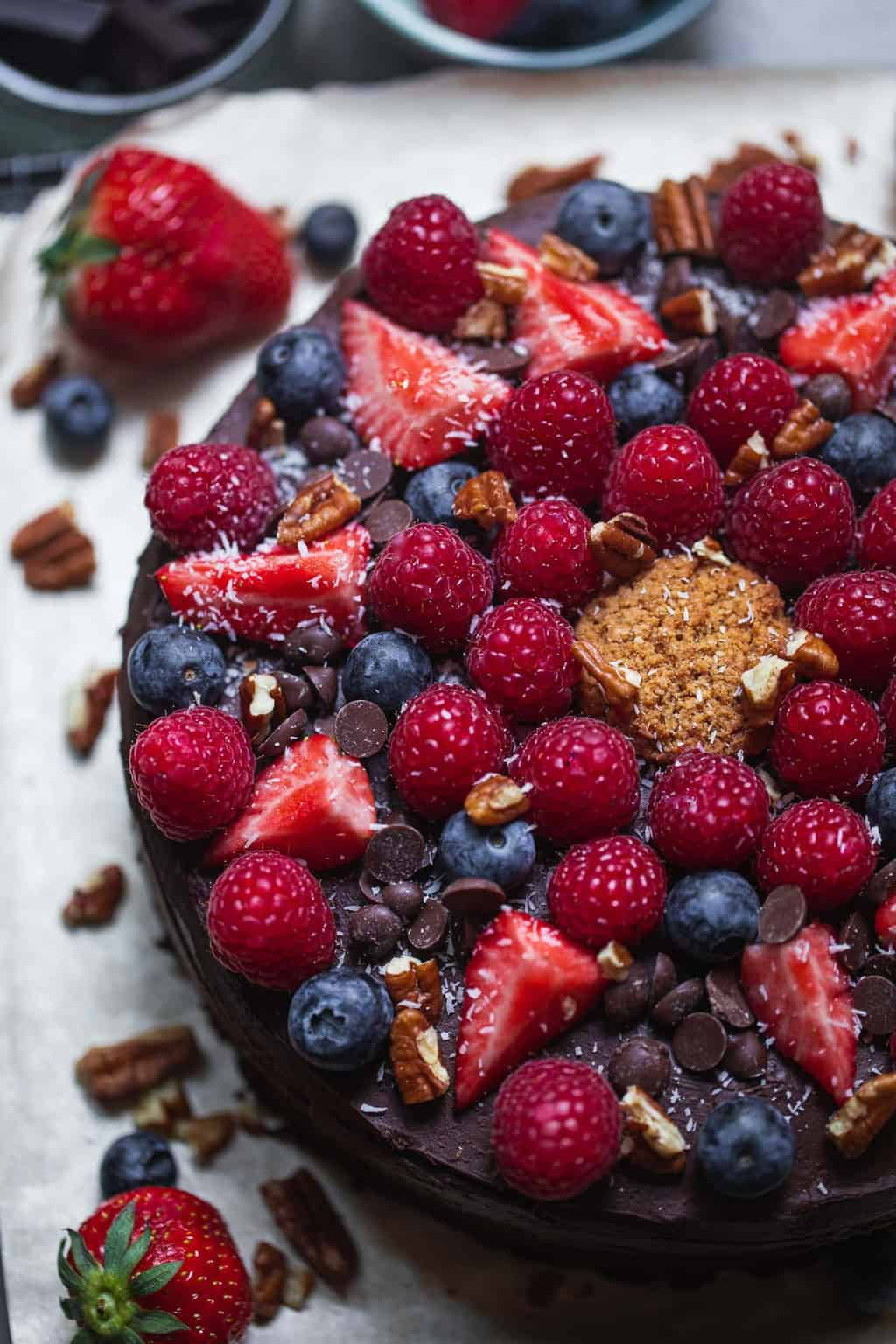 Closeup of berries on top of a cake