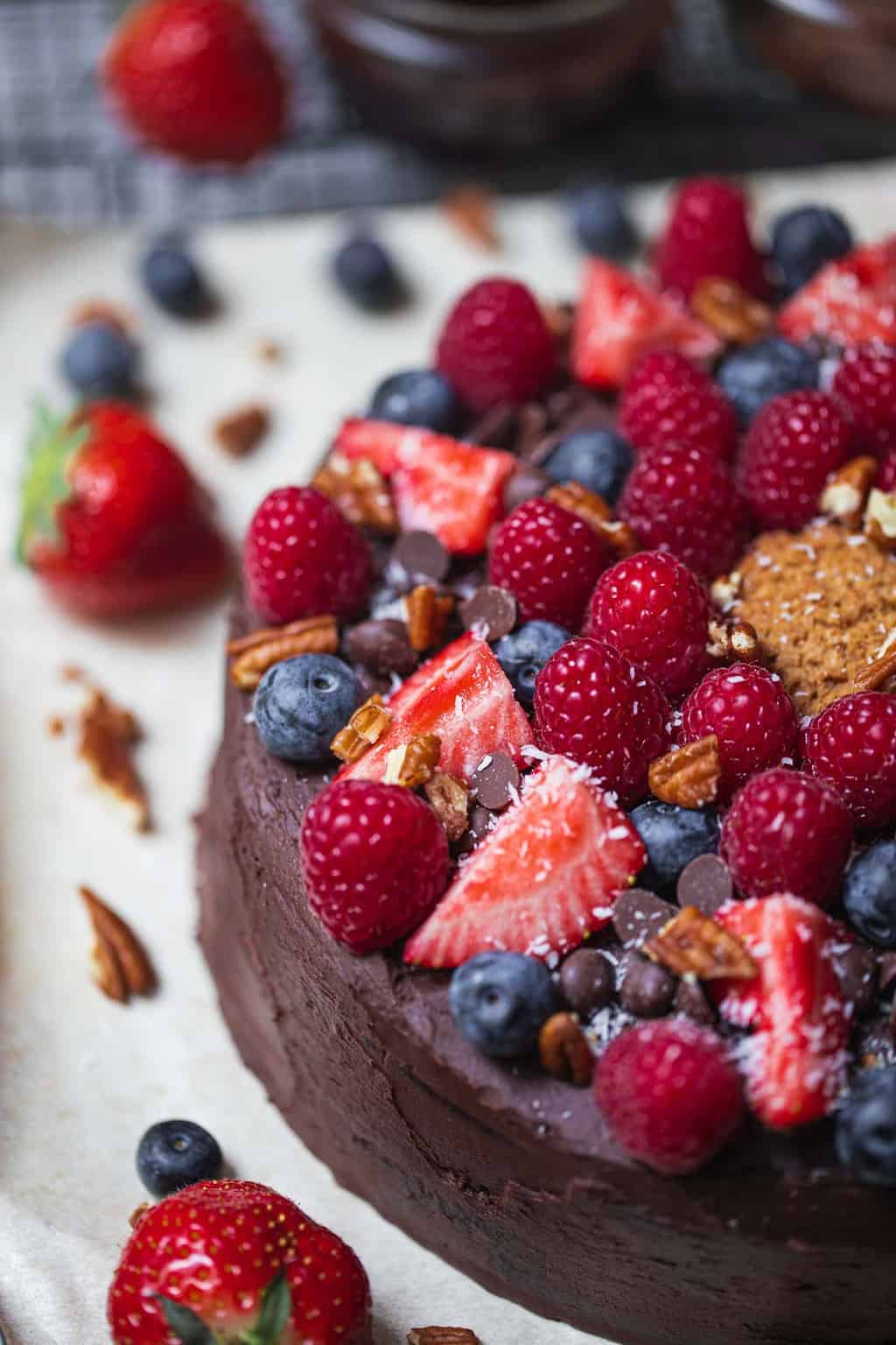 Chocolate cake with berries on top