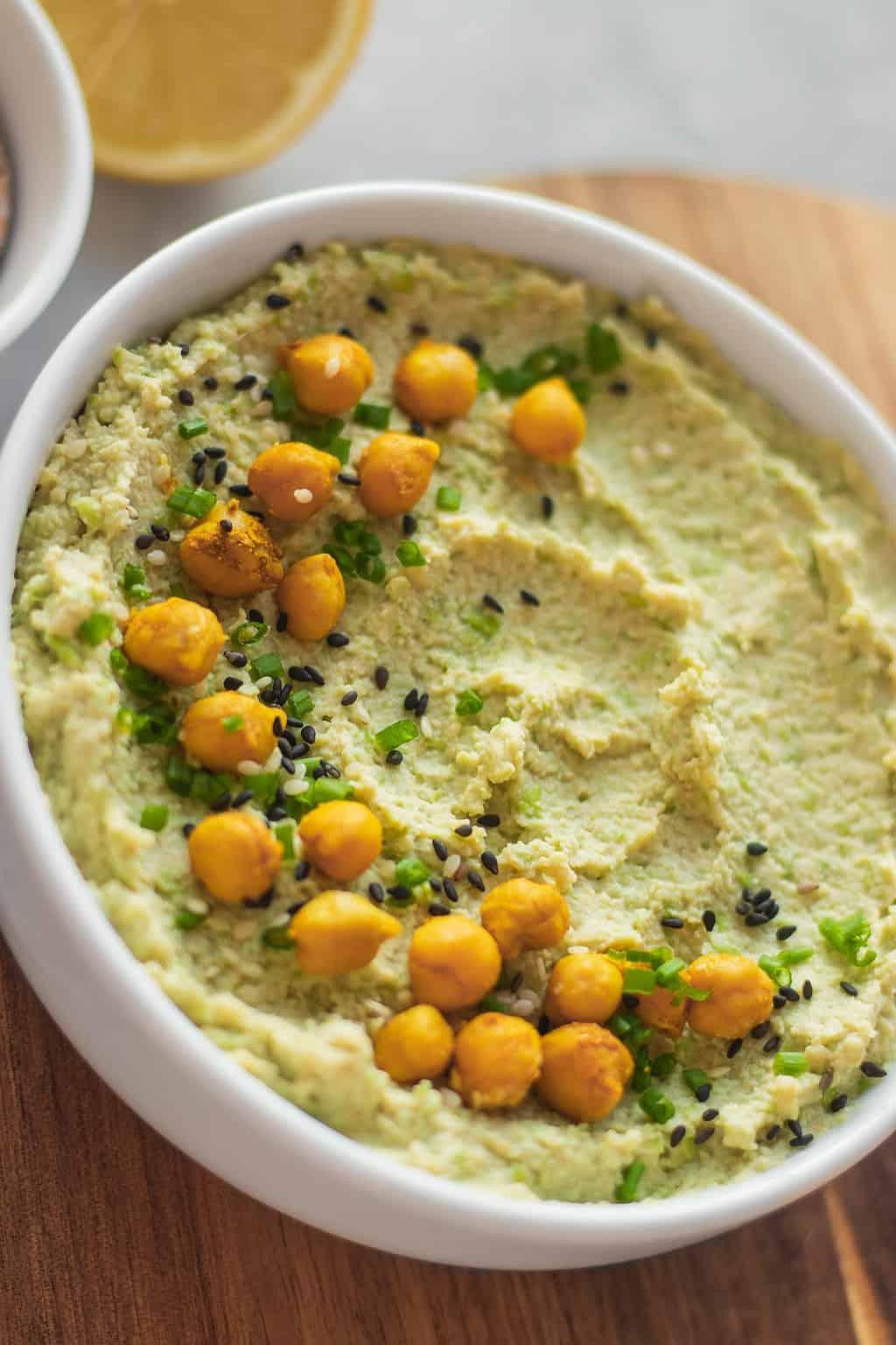 Vegan edamame hummus with chickpeas