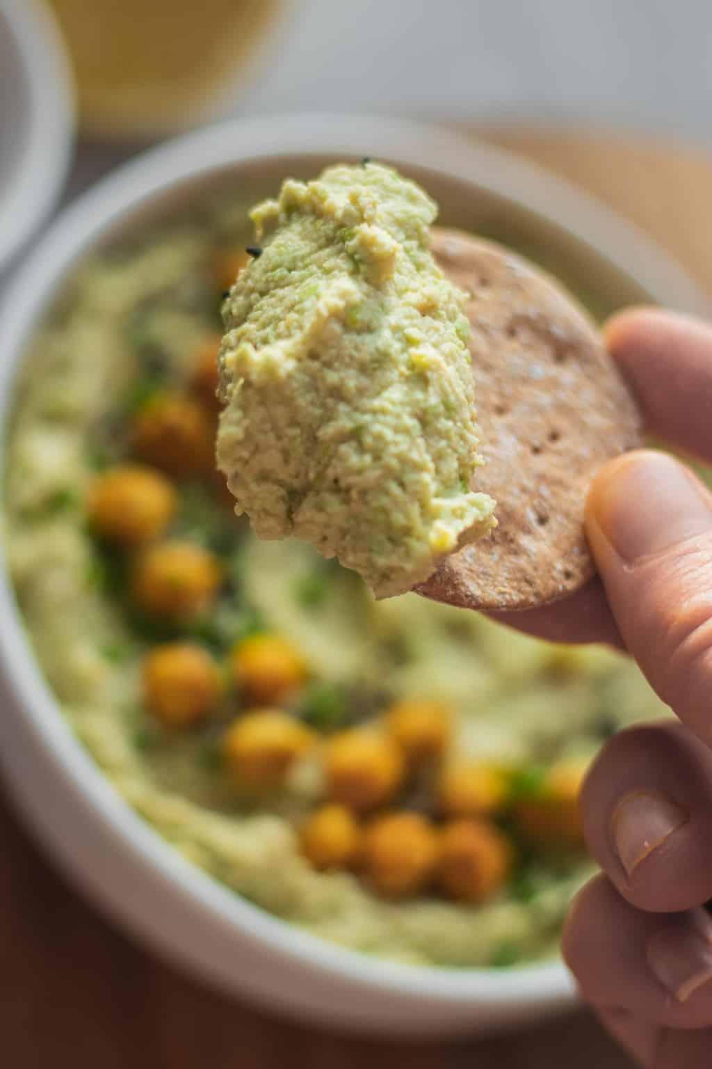 Oil-free vegan edamame hummus recipe