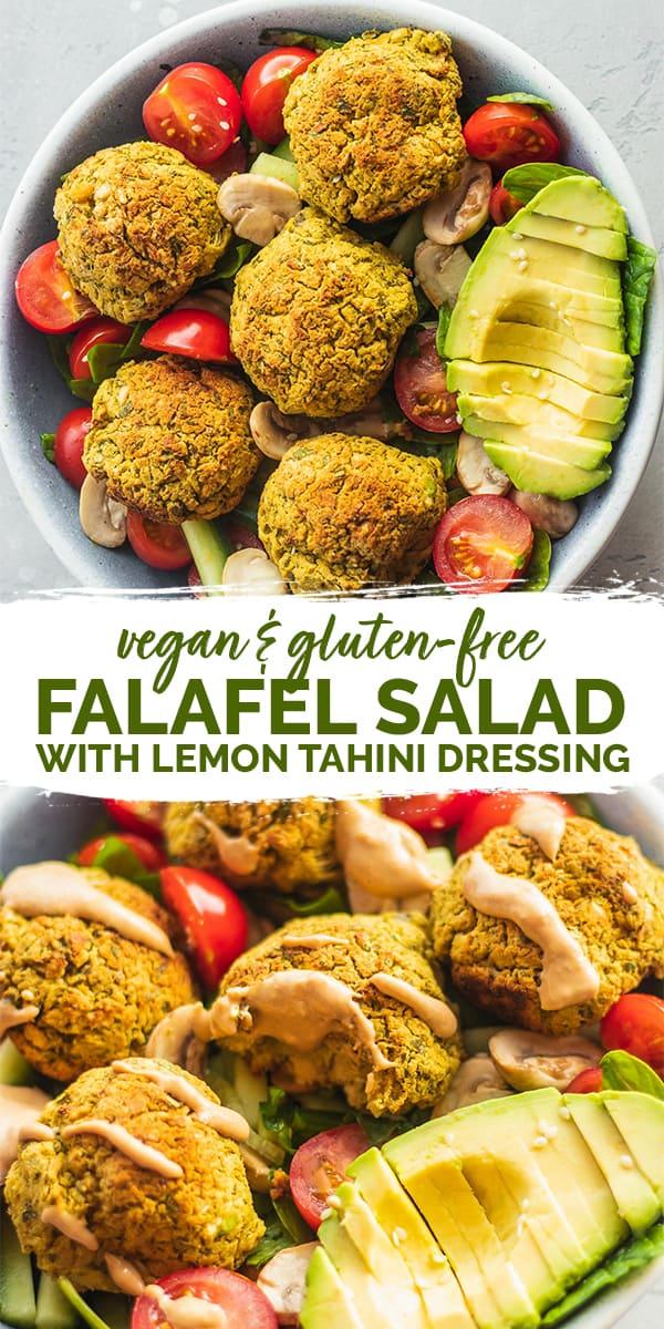 Vegan falafel salad with lemon tahini dressing gluten-free