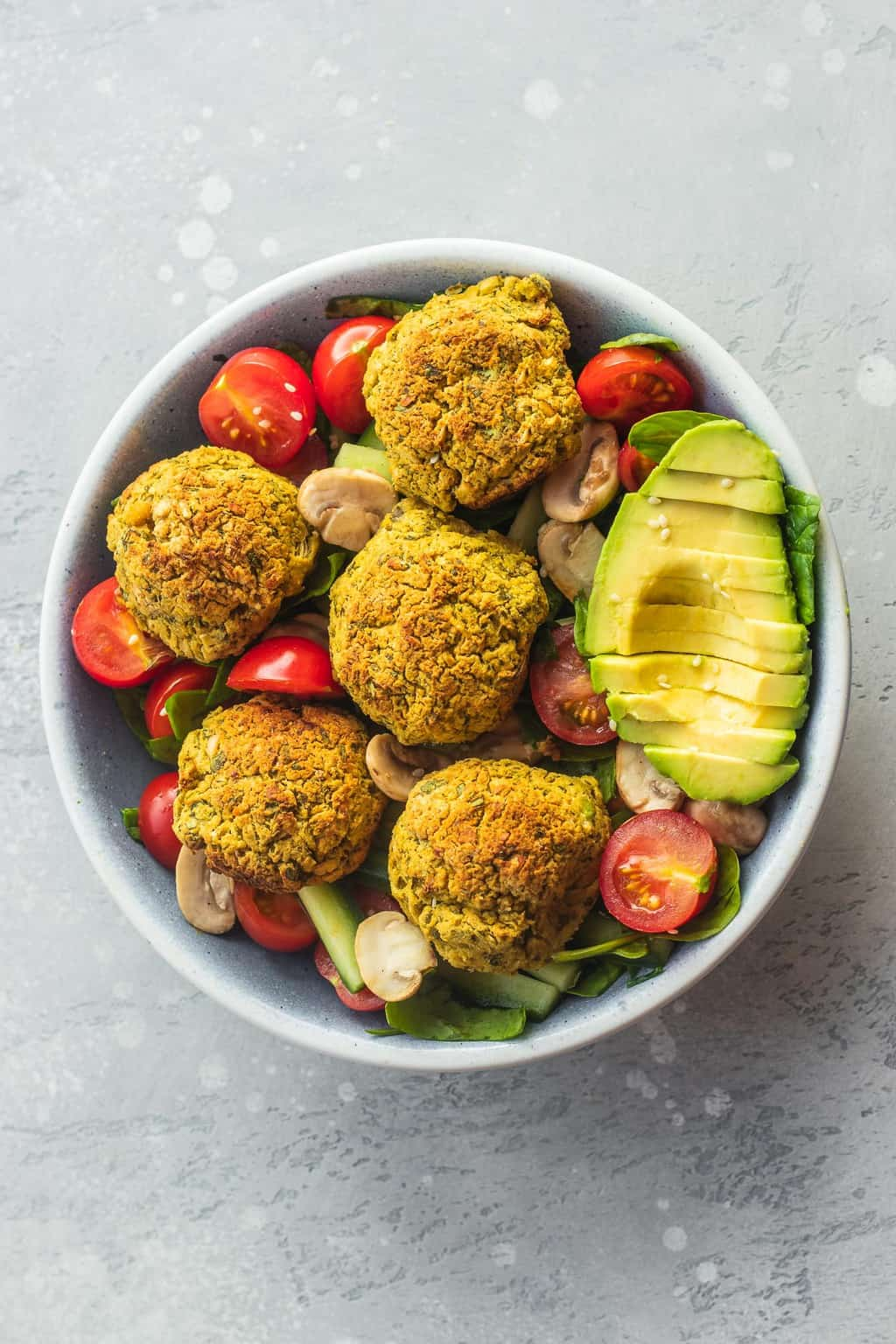 Vegan falafel salad with avocado