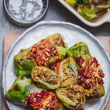 Vegan stuffed cabbage rolls recipe
