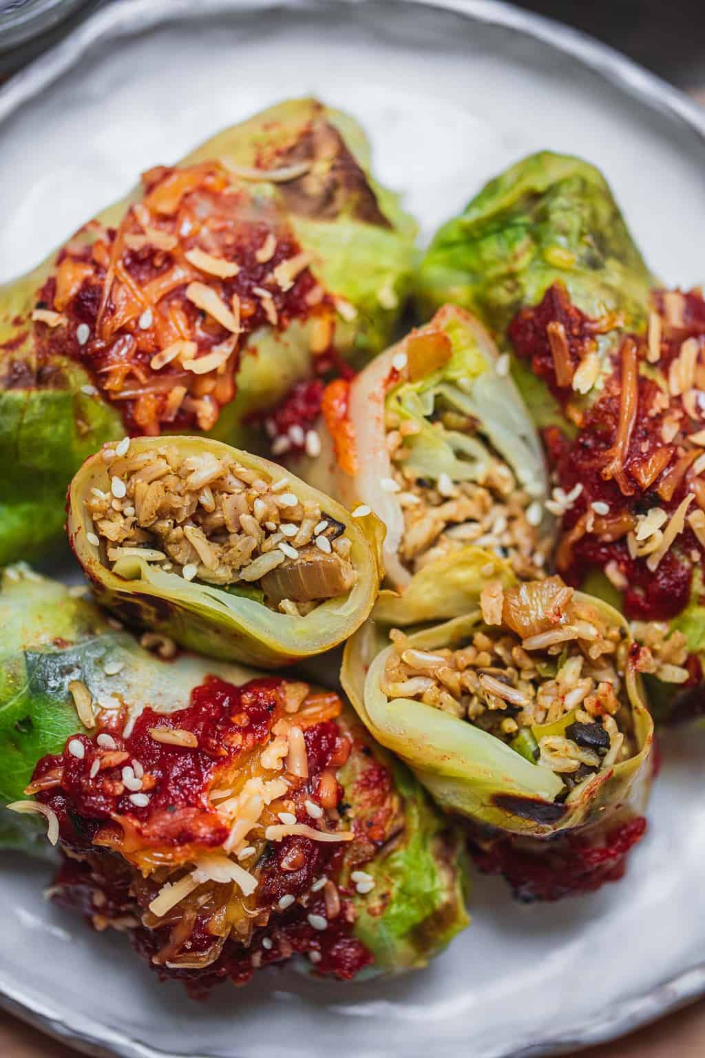 Closeup of stuffed cabbage rolls on a white plate