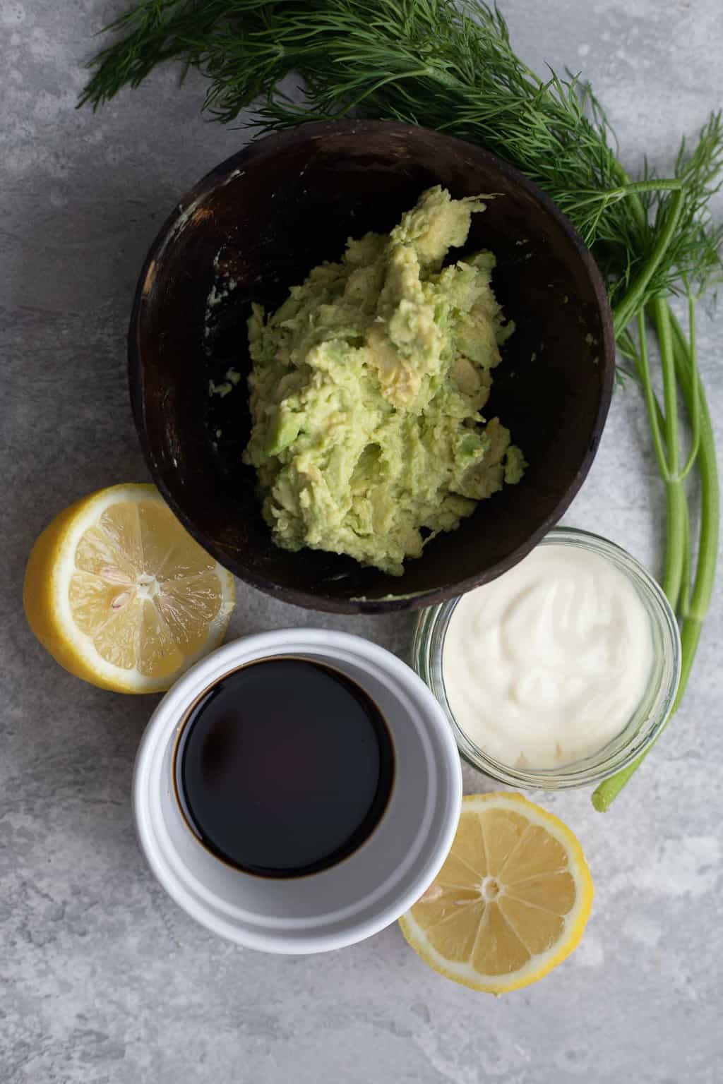 Ingredients for an avocado sauce