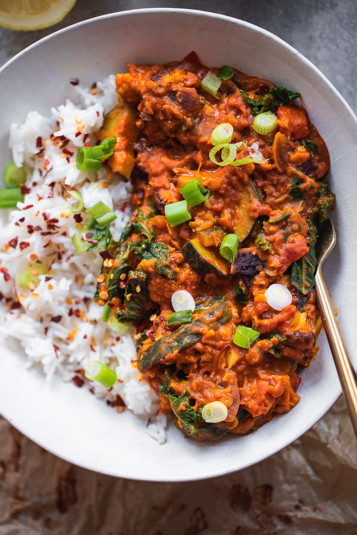 Bowl of vegan Dahl with red lentils and cauliflower