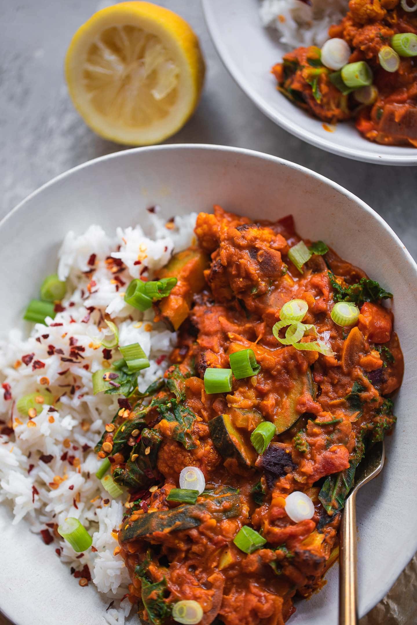 Bowl of vegan Dahl with red lentils