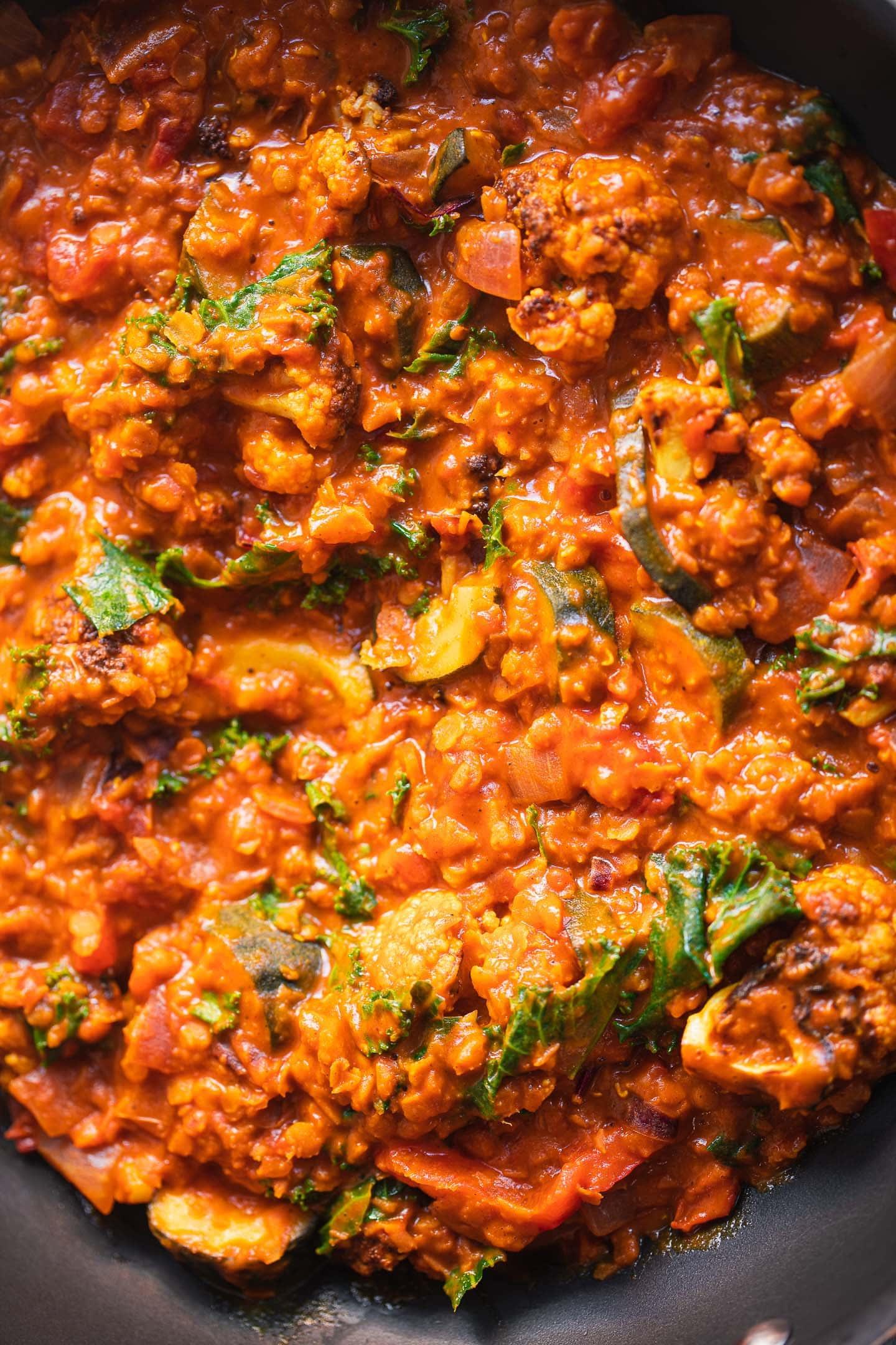 Cauliflower Dahl in a pan