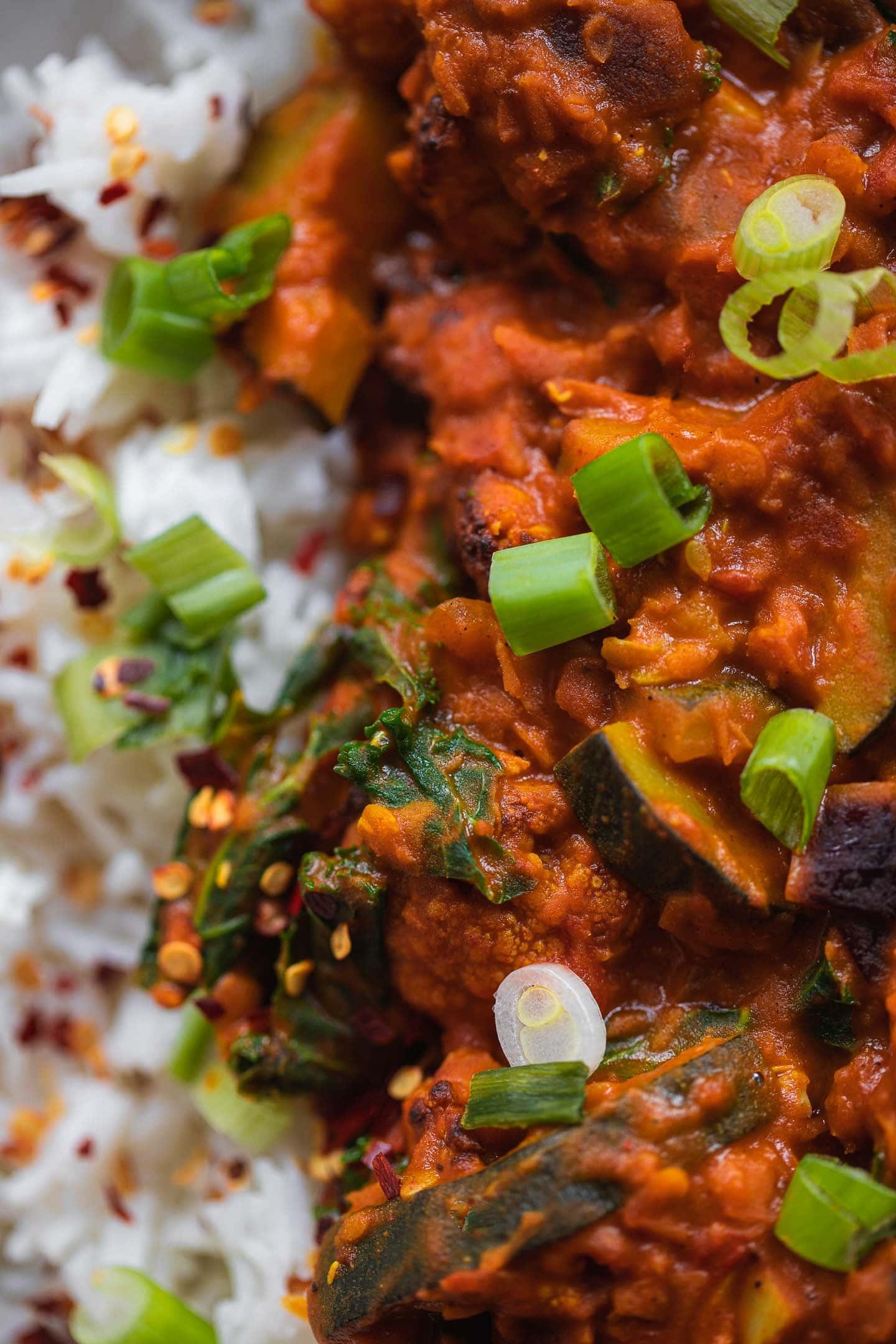 Cauliflower Dahl with red lentils