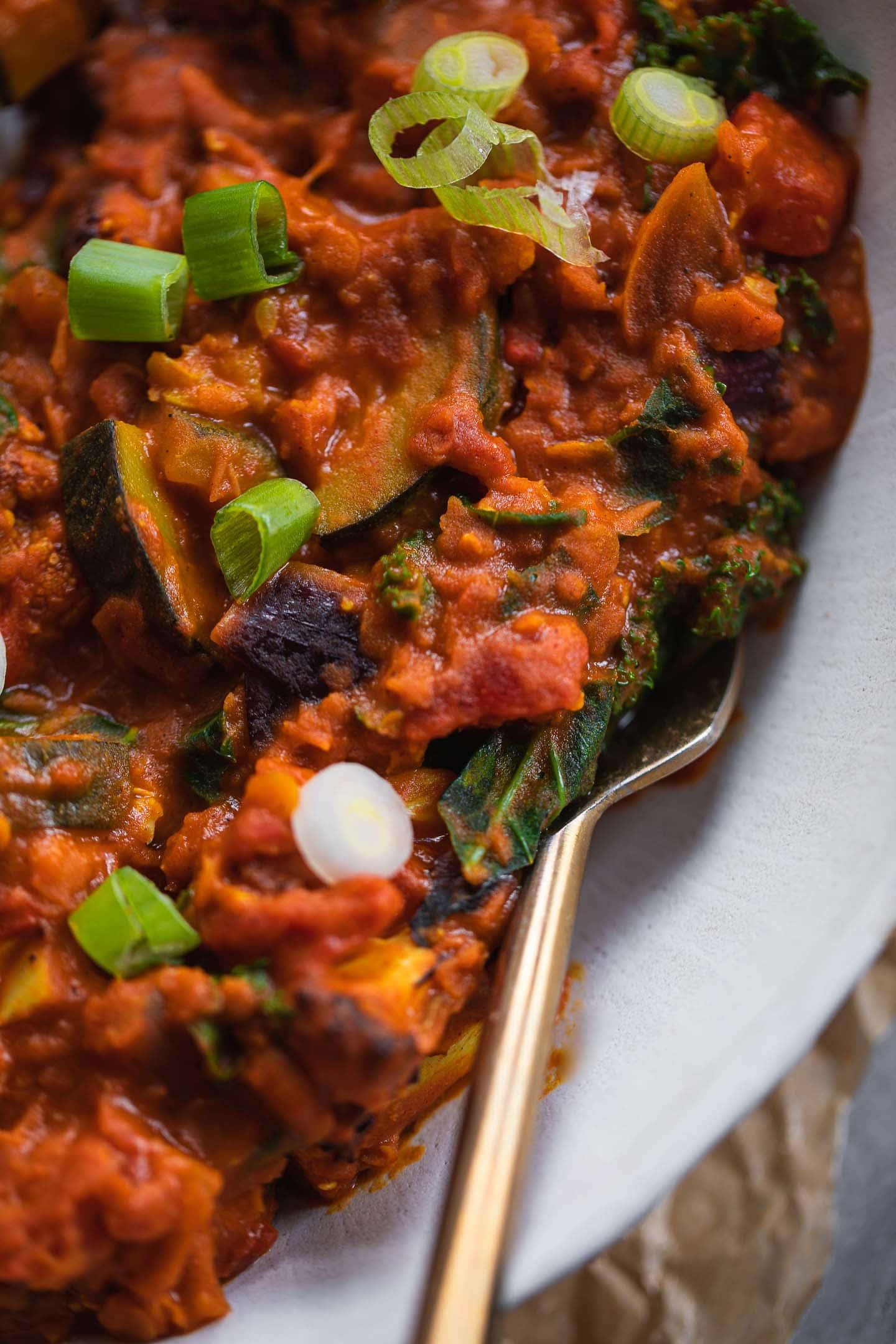 Closeup of a bowl of vegan Dahl