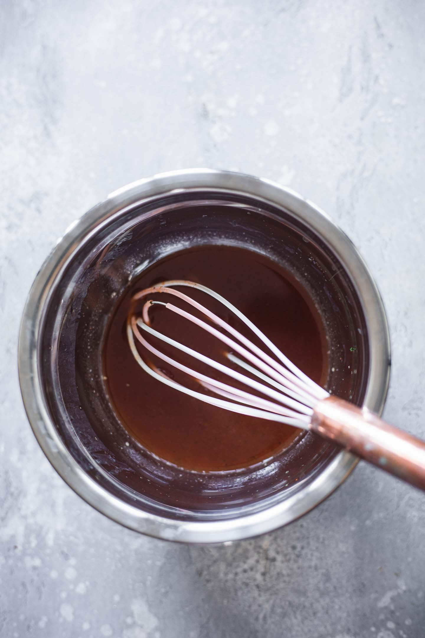 Sweet and sour sauce in a mixing bowl