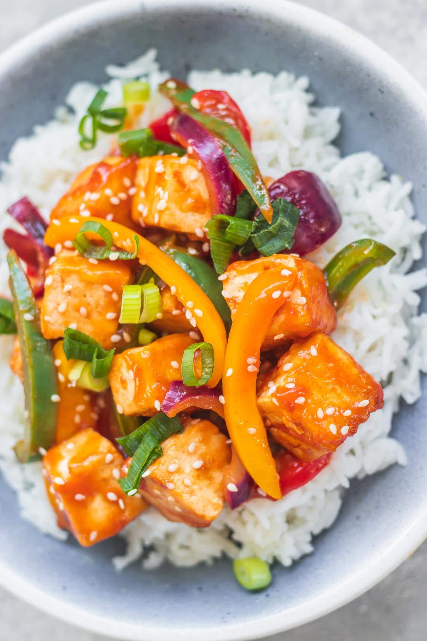 Sweet and sour tofu vegan gluten-free
