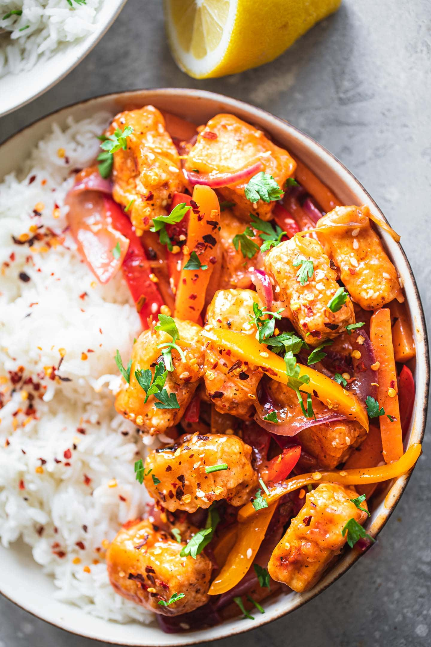 Tofu and sweet and sour sauce with rice