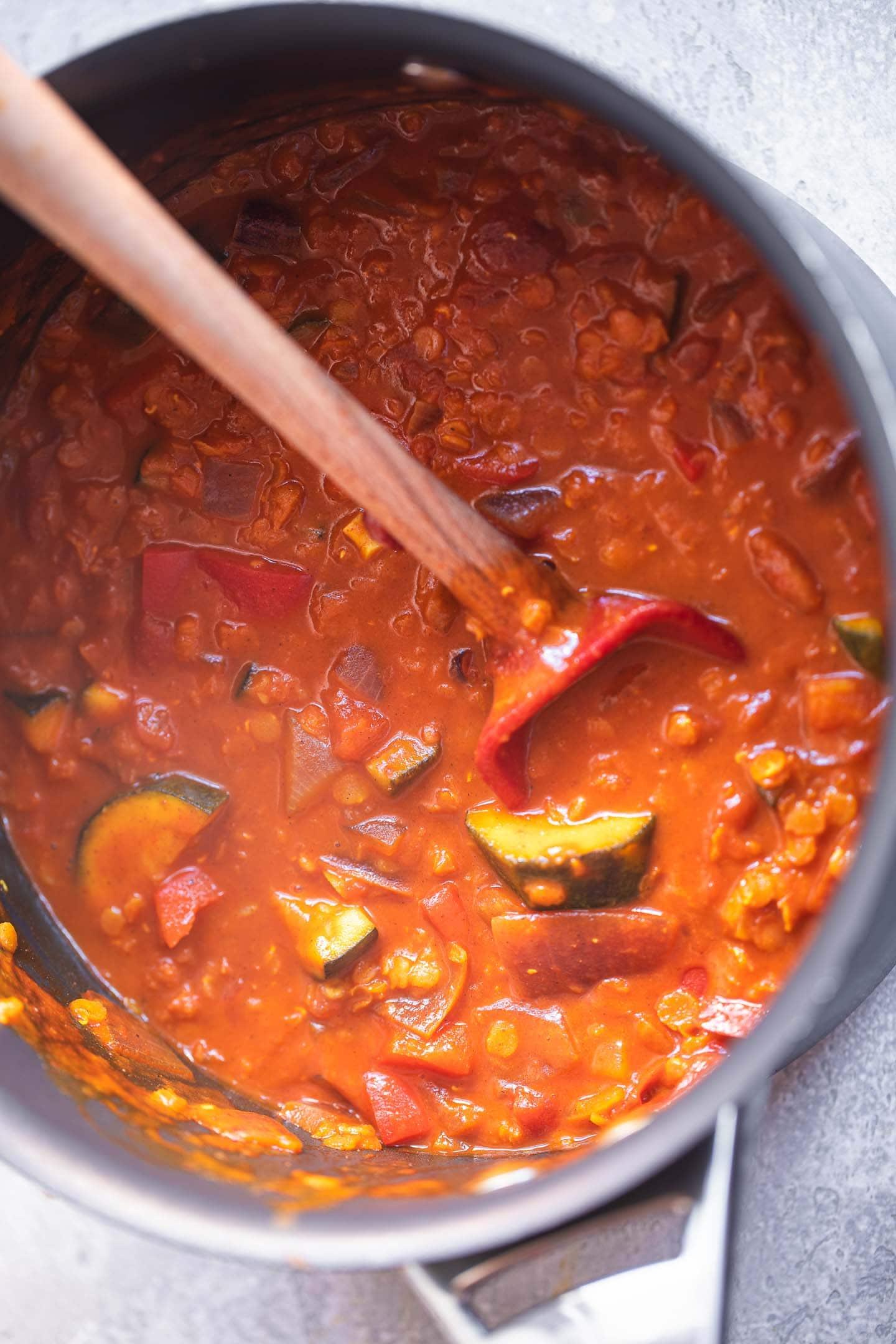 Vegan Dahl in a pan