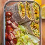 Vegan avocado wrap with chickpeas gluten-free oil-free