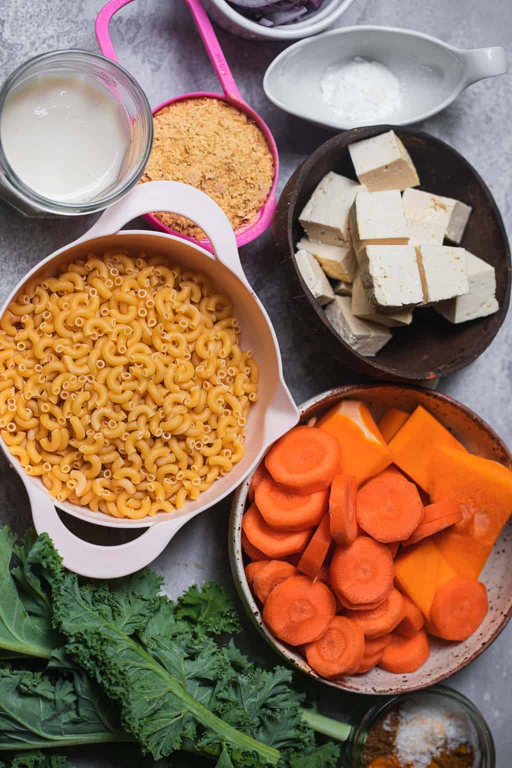 Ingredients for vegan butternut squash mac and cheese
