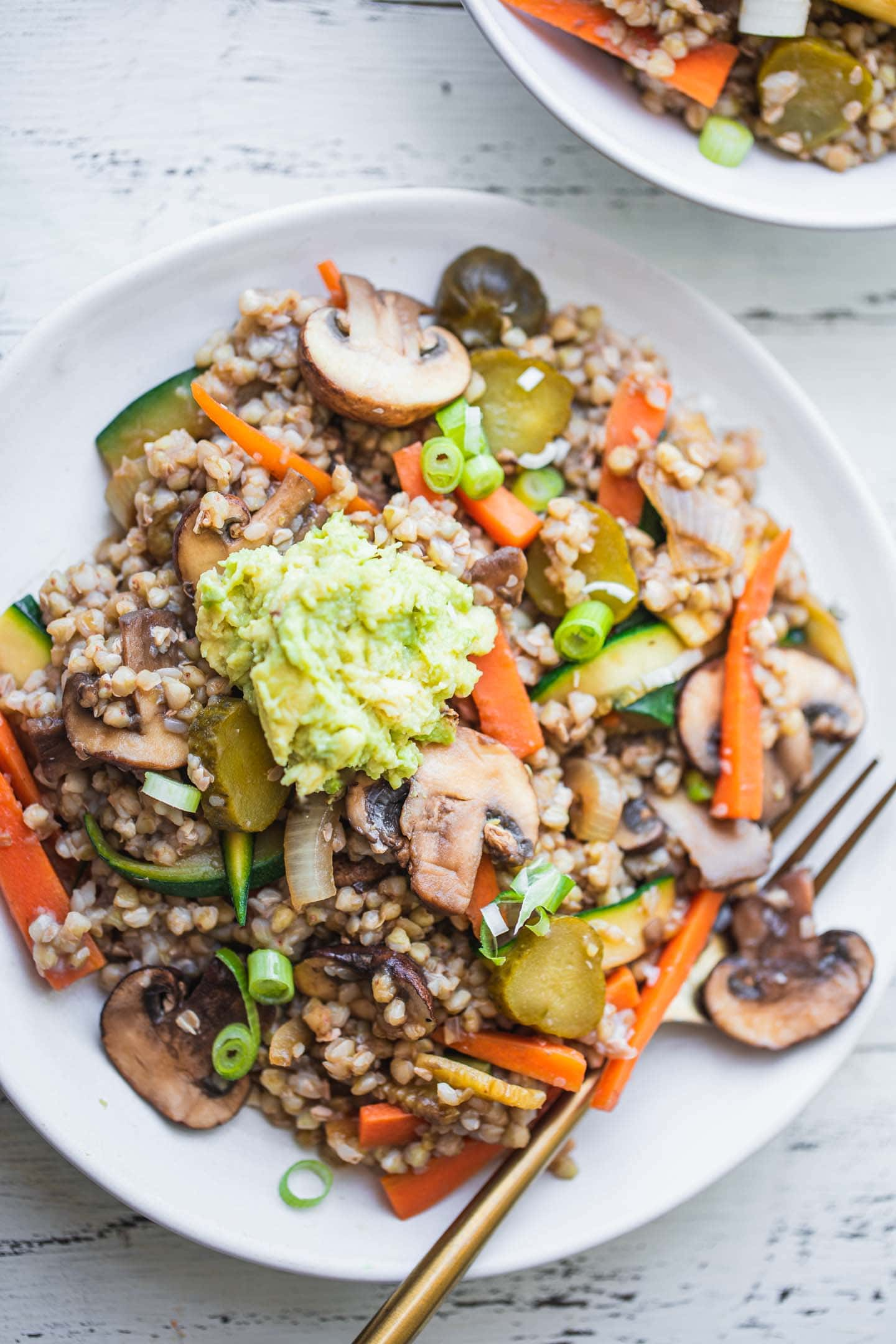 Buckwheat with vegetables and avocado