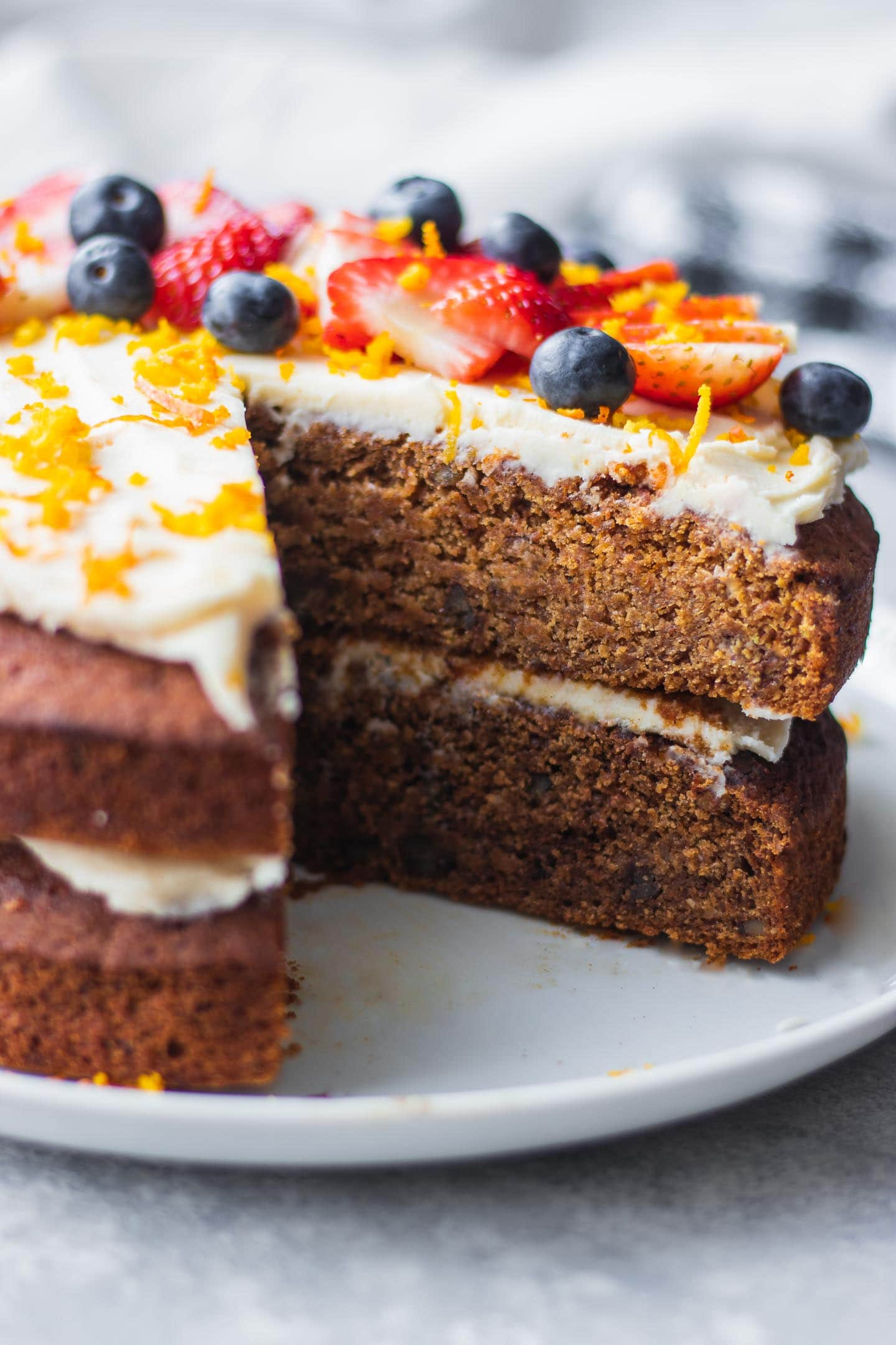 Vegan carrot cake on a white plate