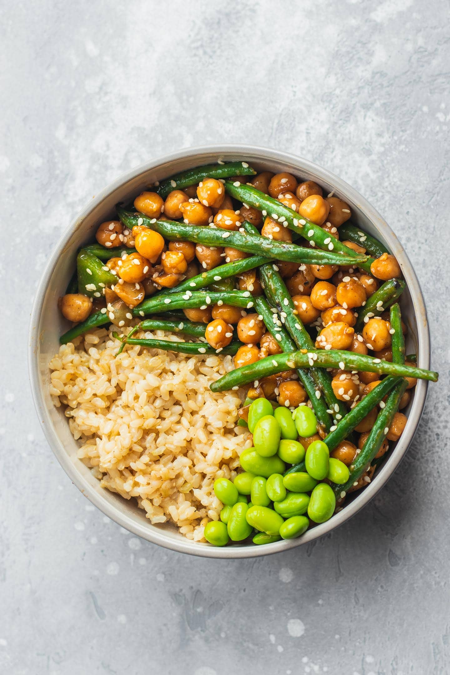 Vegan sweet and sour chickpeas and green beans