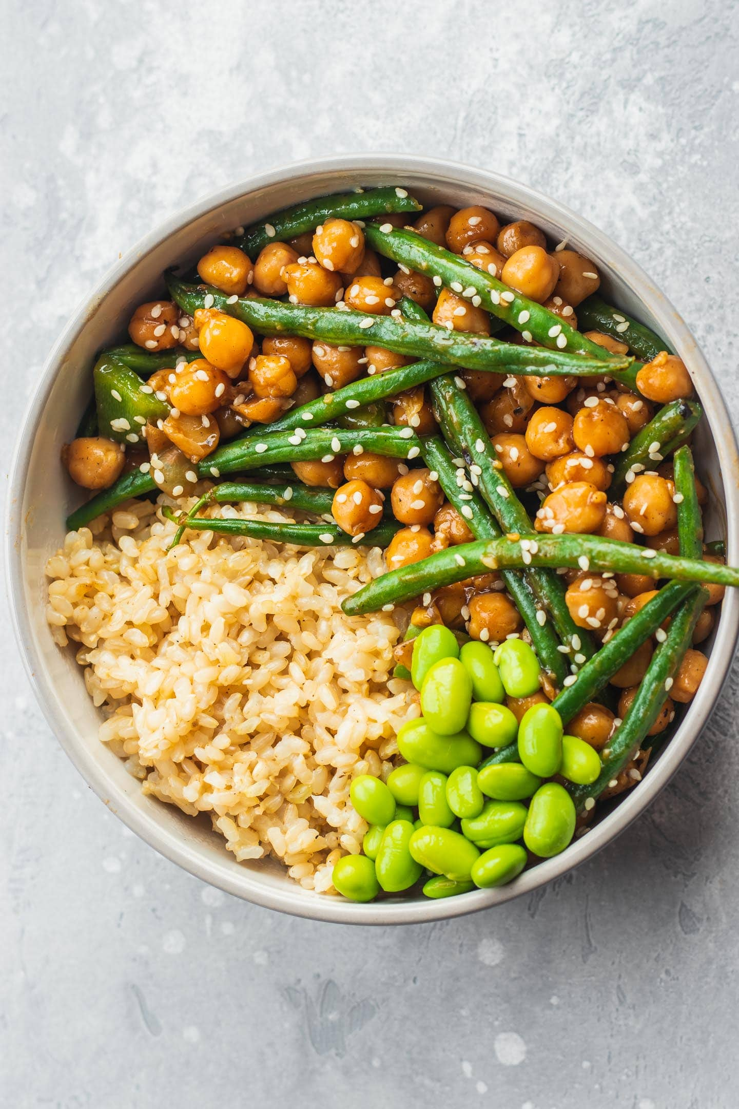Vegan sweet and sour chickpeas and green beans gluten-free