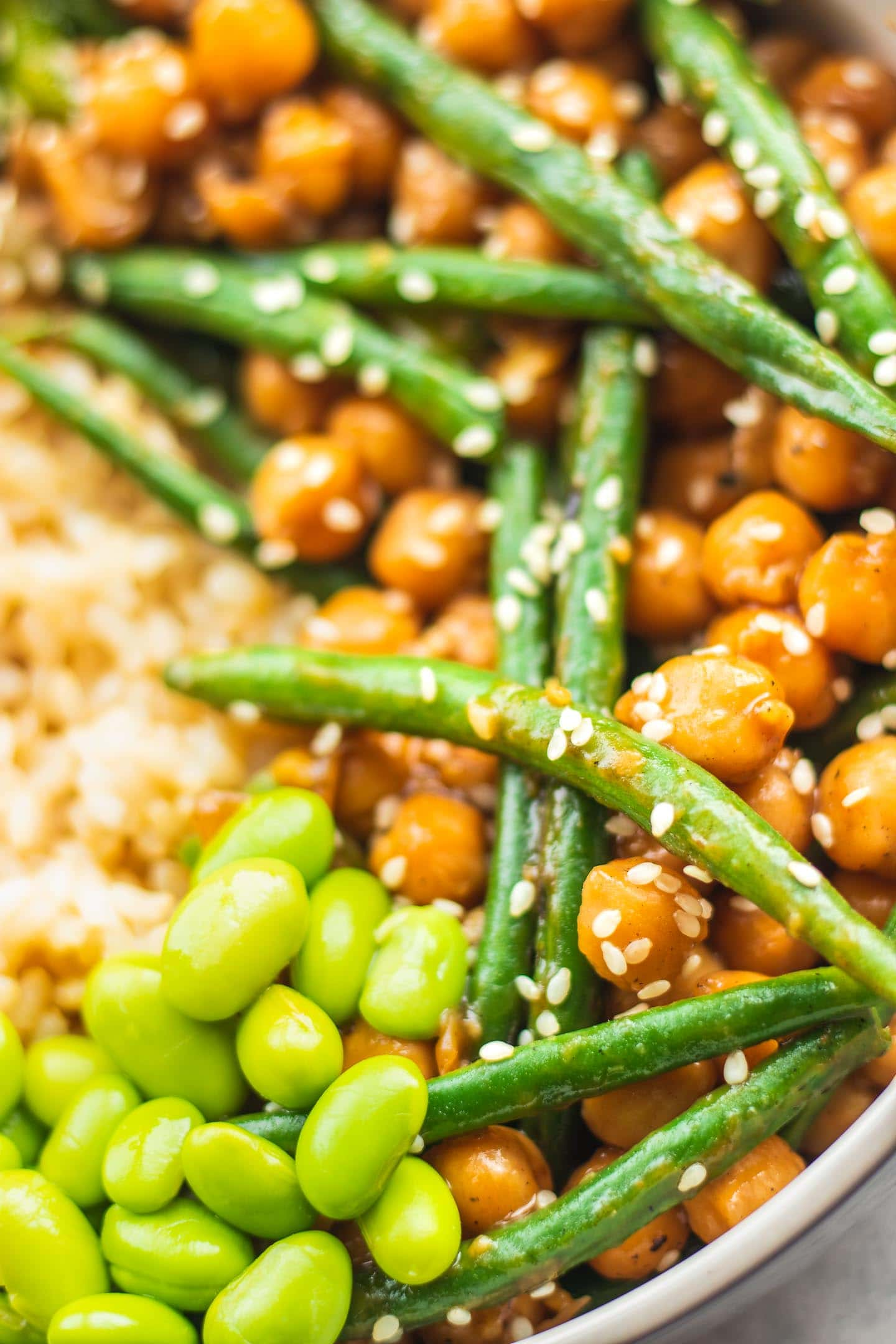 Closeup of sweet and sour chickpeas and green beans