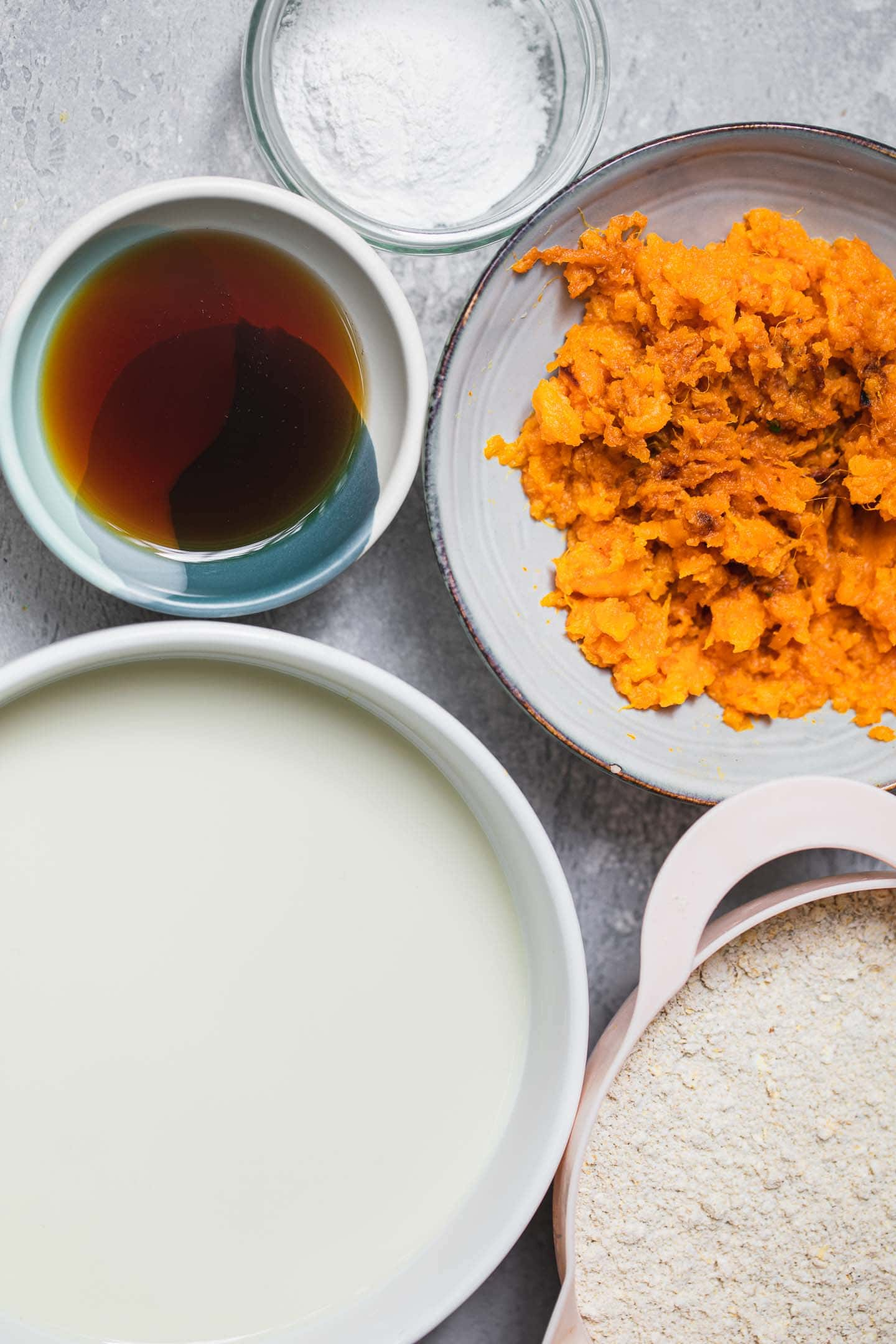 Ingredients for vegan sweet potato pancakes