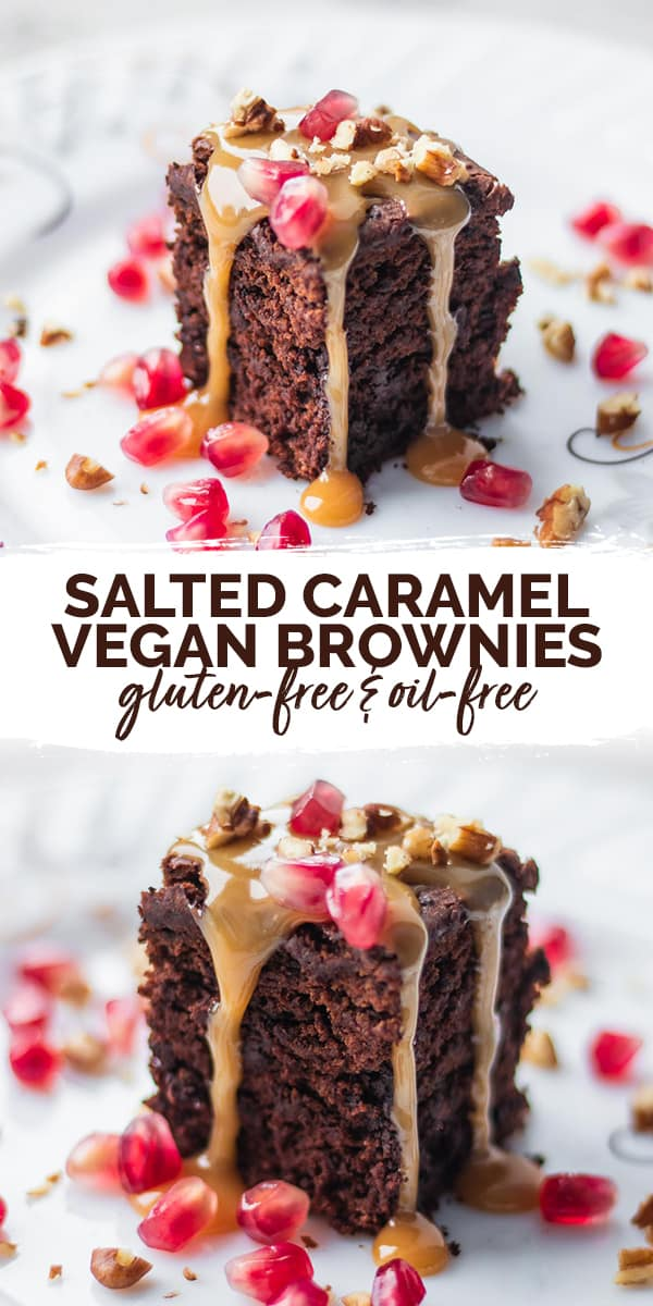 Salted caramel vegan brownies gluten-free Pinterest