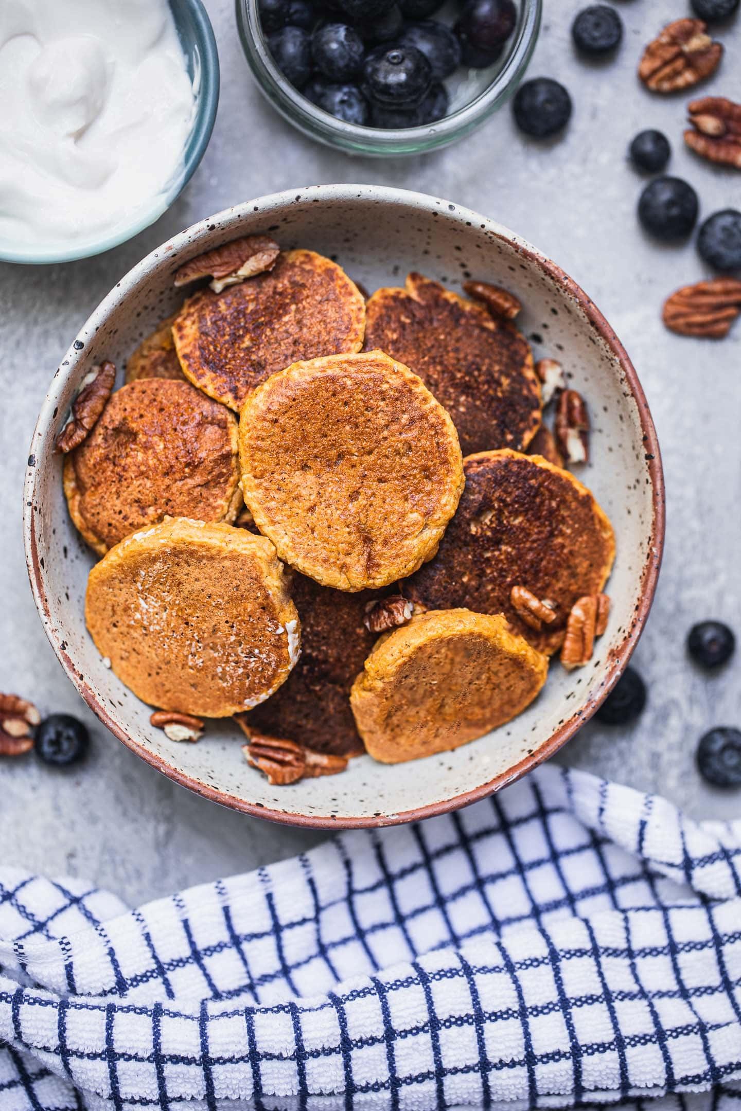 Mini sweet potato pancakes in a bowl