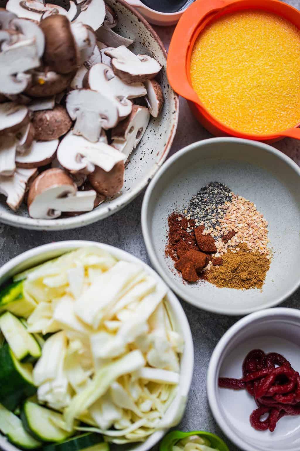 Vegetable polenta ingredients