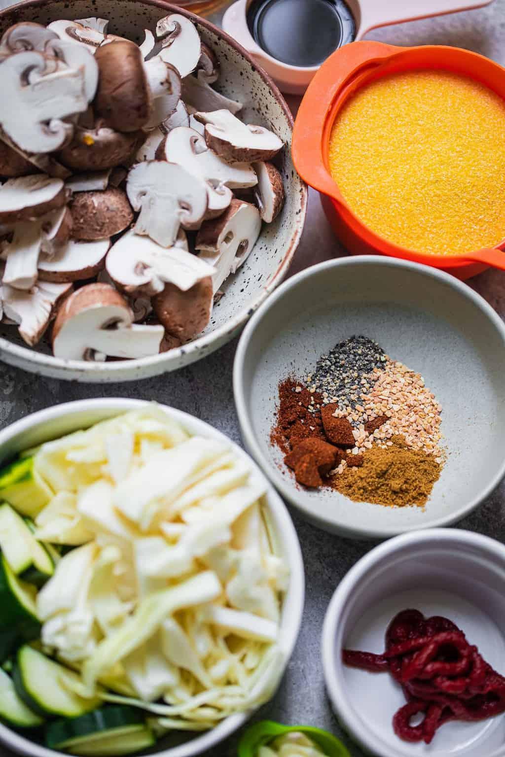 Veggie polenta ingredients