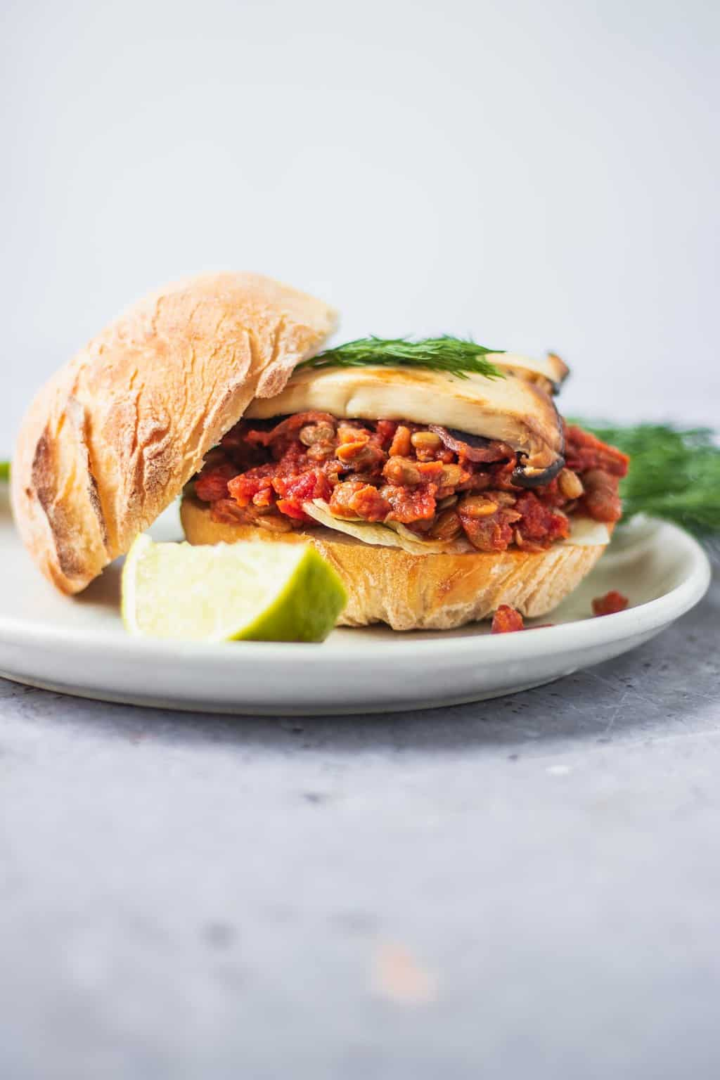Vegan sloppy joes with mushrooms