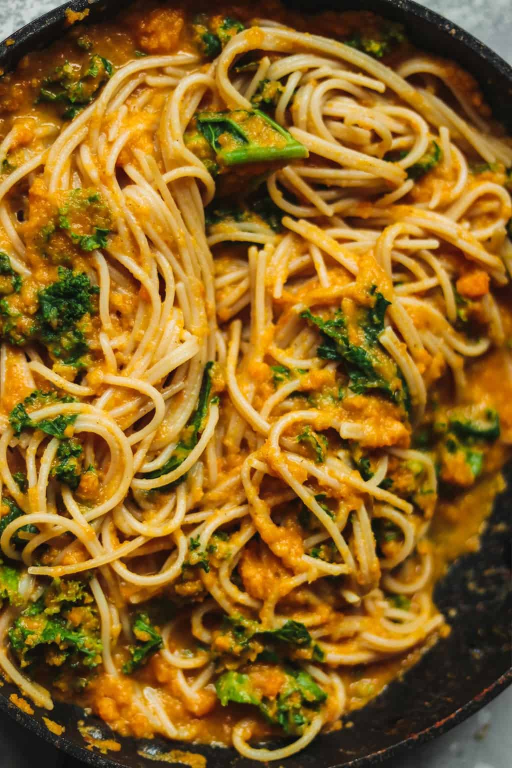 Pumpkin pasta in a frying pan