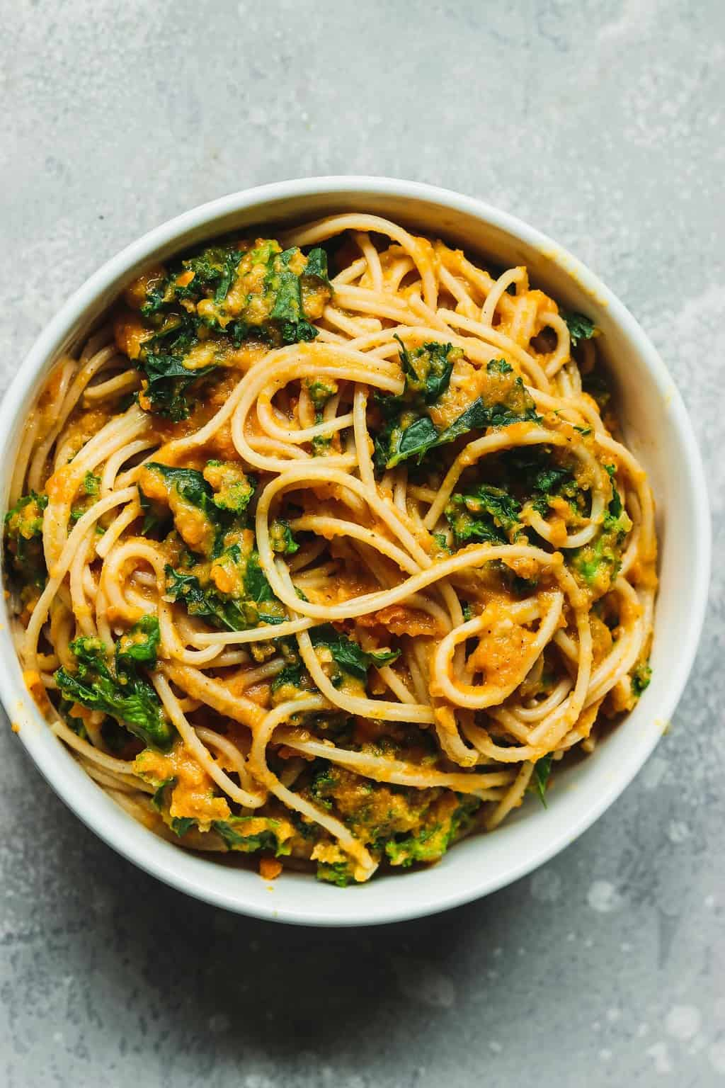 Vegan pasta in a white bowl