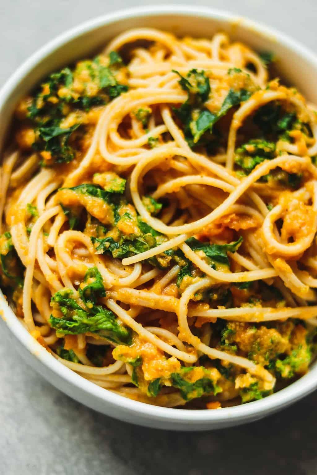 Closeup of creamy vegan pumpkin pasta