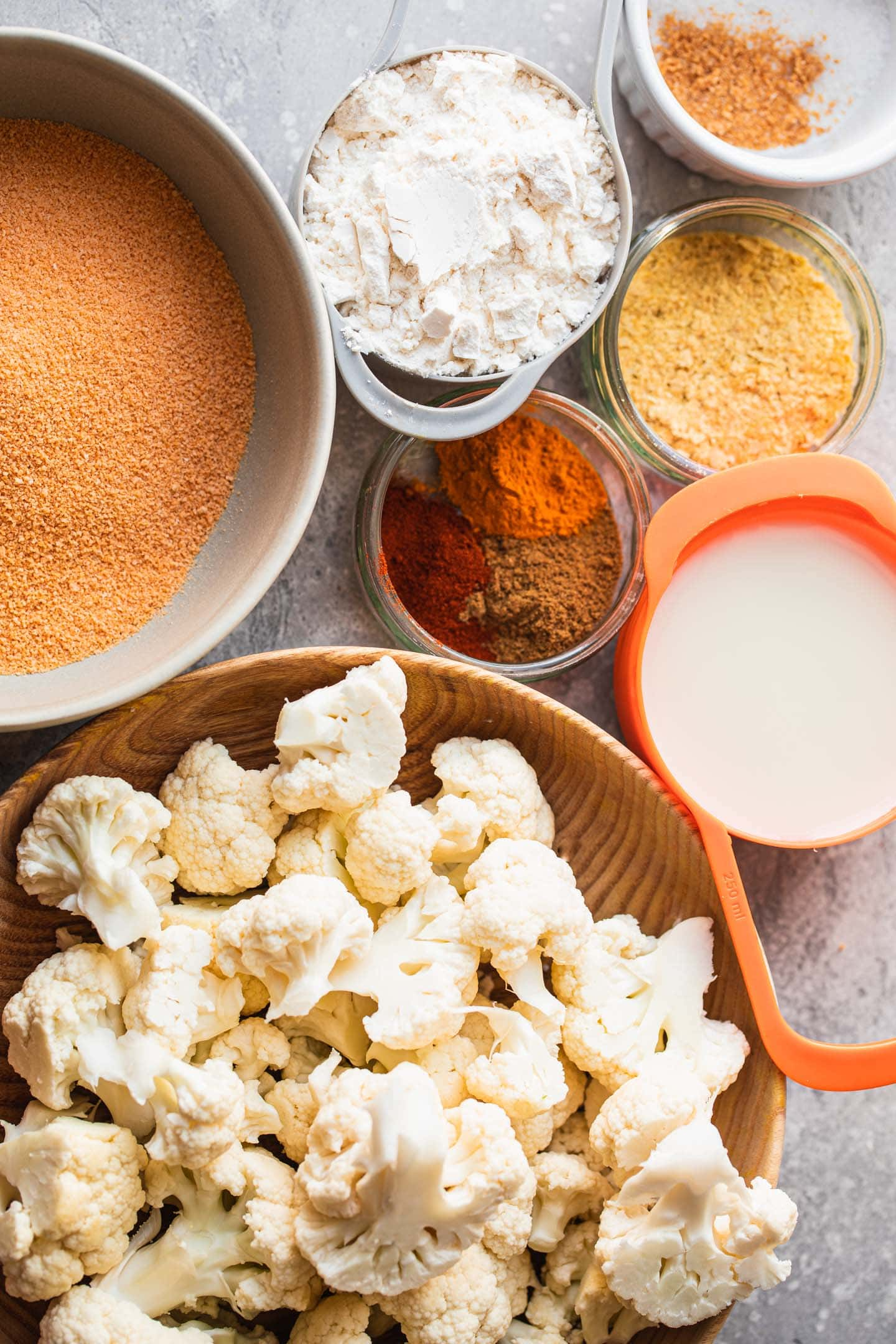 Ingredients for vegan cauliflower wings