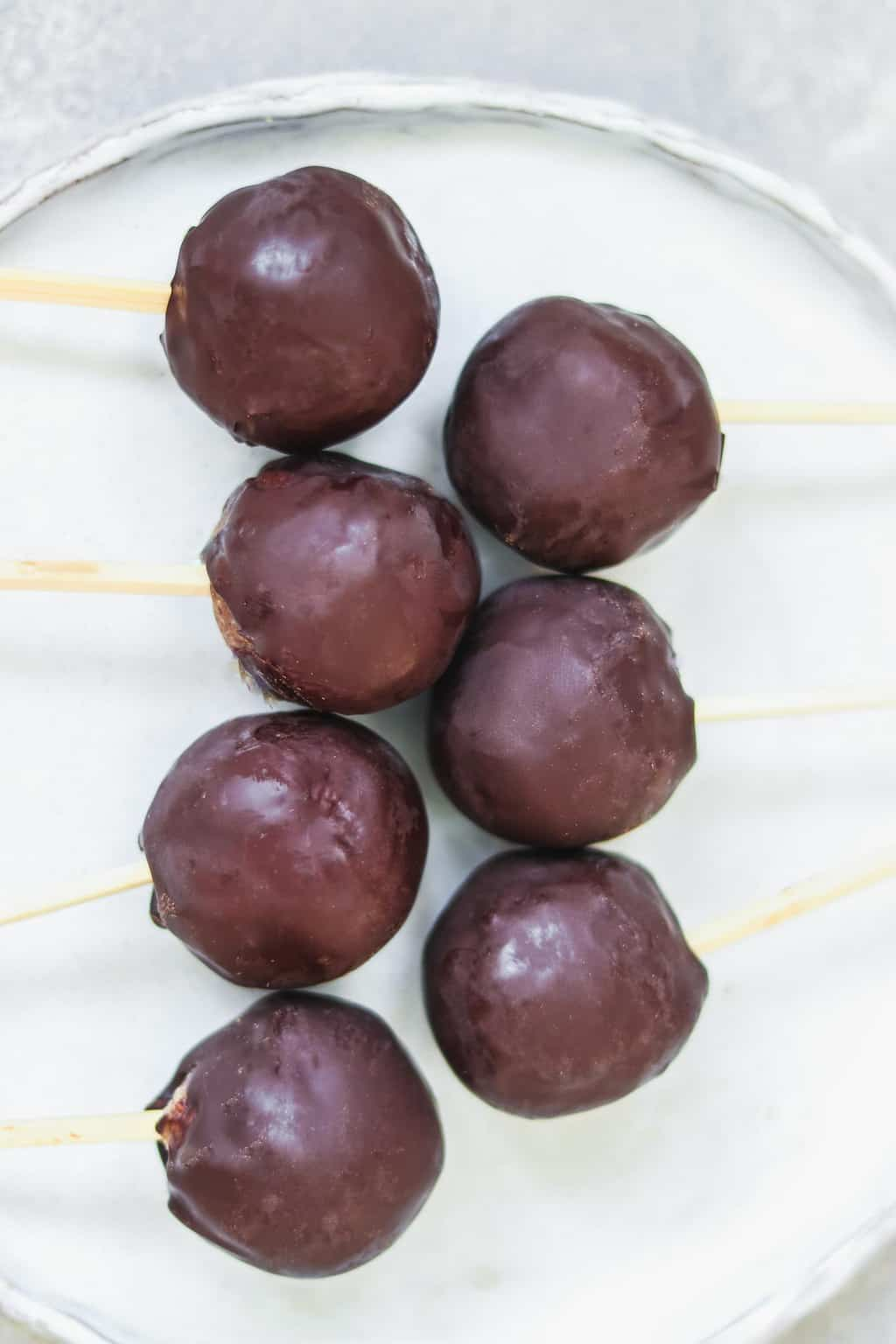 Cake pops on a white plate
