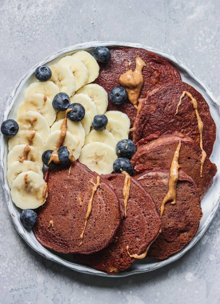 Vegan Chocolate Pumpkin Pancakes
