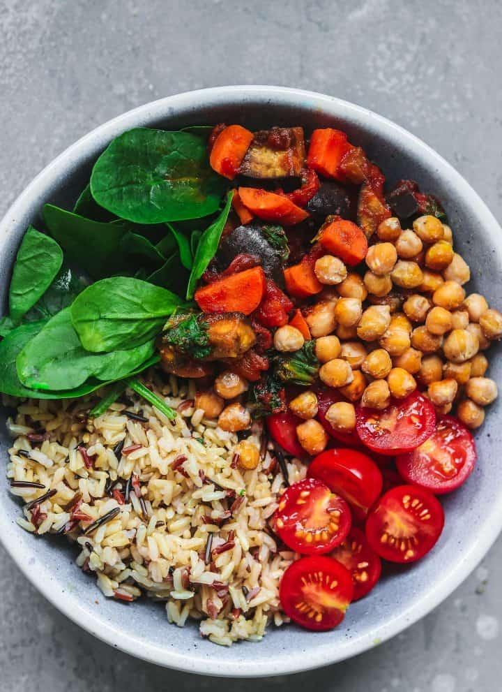 Vegan harvest bowl with chickpeas