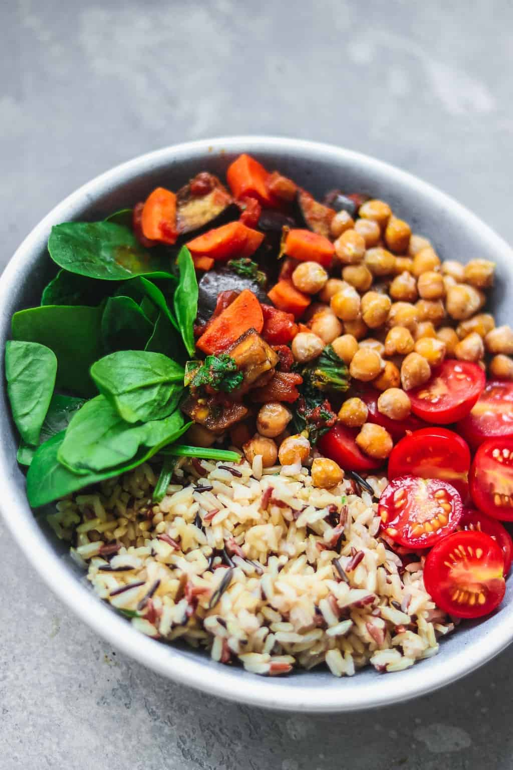 Bowl with chickpeas rice and vegetables