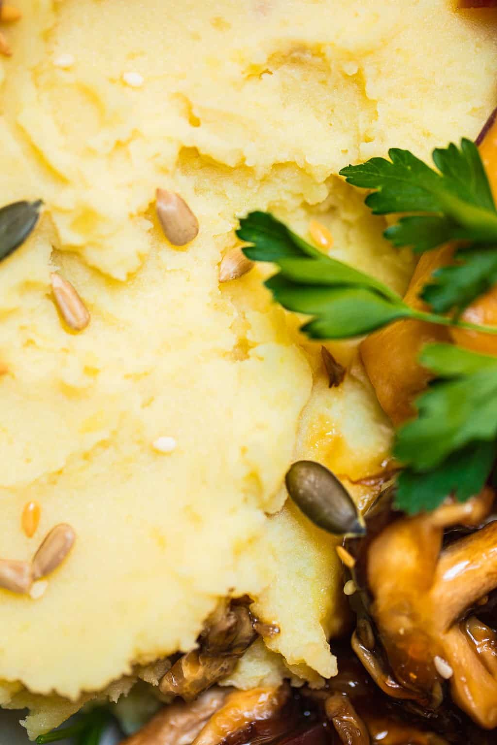 Closeup of potatoes and mushrooms